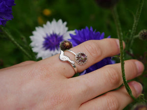 Highland heather magpie detail sterling silver adjustable ring