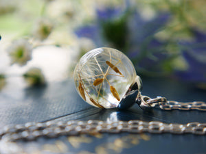 Loch Ness dandelion seed sterling silver necklace