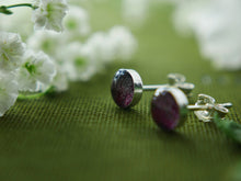 Load image into Gallery viewer, Scottish castle fuchsia petal sterling silver studs