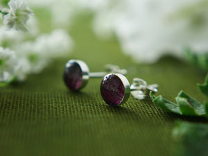 Scottish castle fuchsia petal sterling silver studs