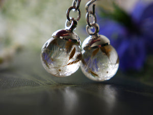 Aberdeenshire tiny dandelion seed sterling silver drop earrings