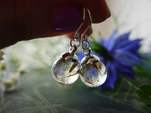 Load image into Gallery viewer, Aberdeenshire tiny dandelion seed sterling silver drop earrings