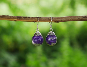 Scottish wild geranium sterling silver earrings
