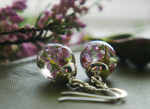 Highland heather sterling silver drop earrings
