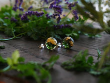 Load image into Gallery viewer, Fife moss & gold sterling silver earrings