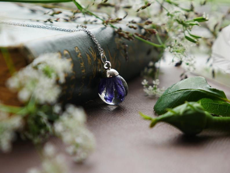 Perthshire bluebell sterling silver necklace