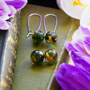 Kirriemuir moss earring set - stud earring and drop earring set