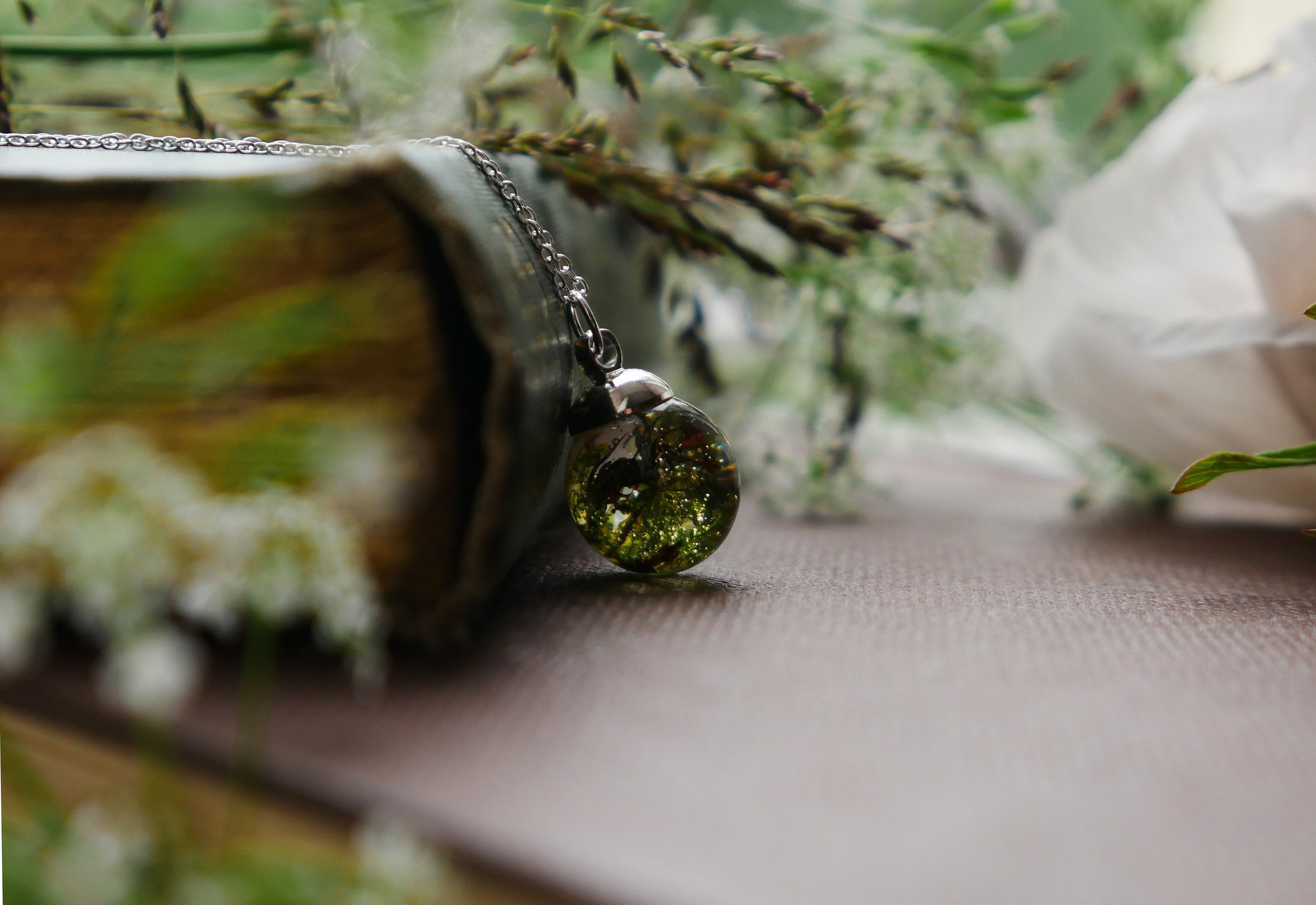 Highland moss sterling silver necklace
