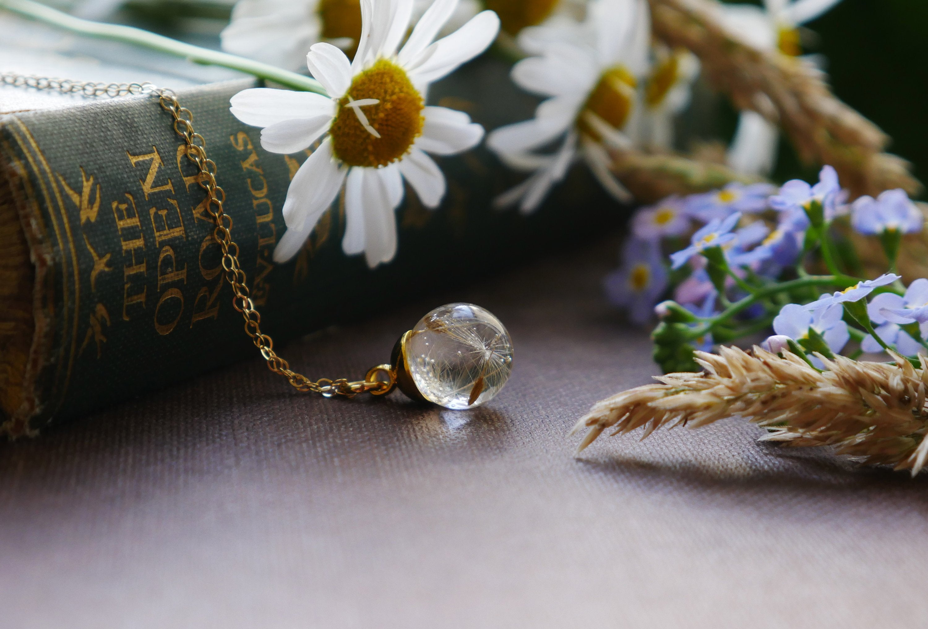 Pitlochry long gold dandelion seed necklace