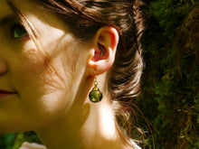 Load image into Gallery viewer, Huntingtower Castle moss gold earrings