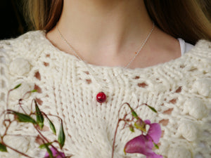 Paisley miniature red rose sterling silver necklace