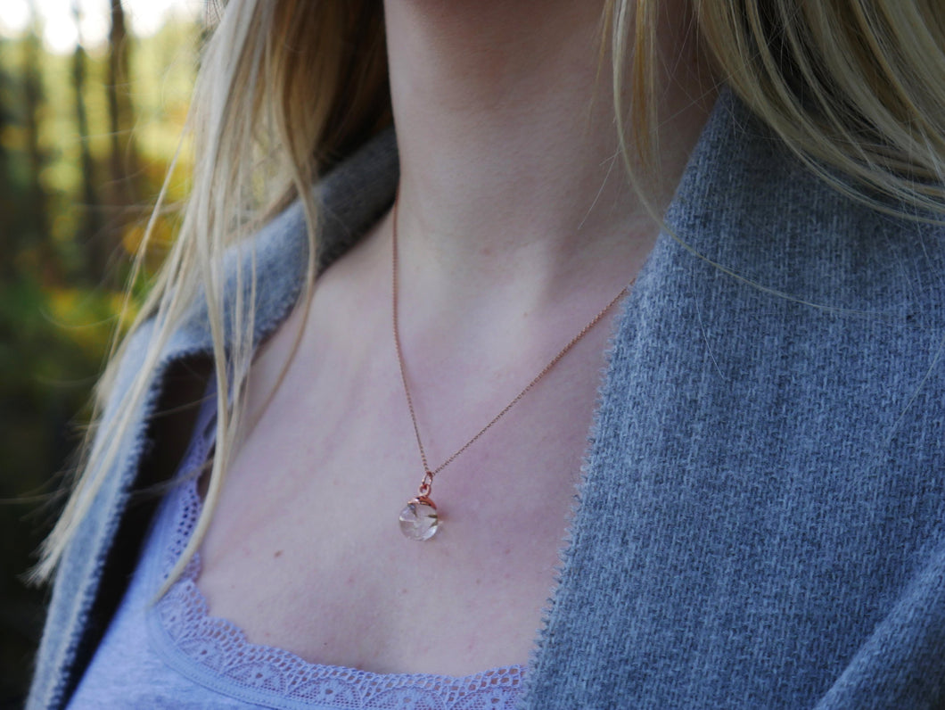 Pitlochry dandelion seed rose gold necklace