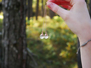Pitlochry rose gold dandelion seed threader earrings