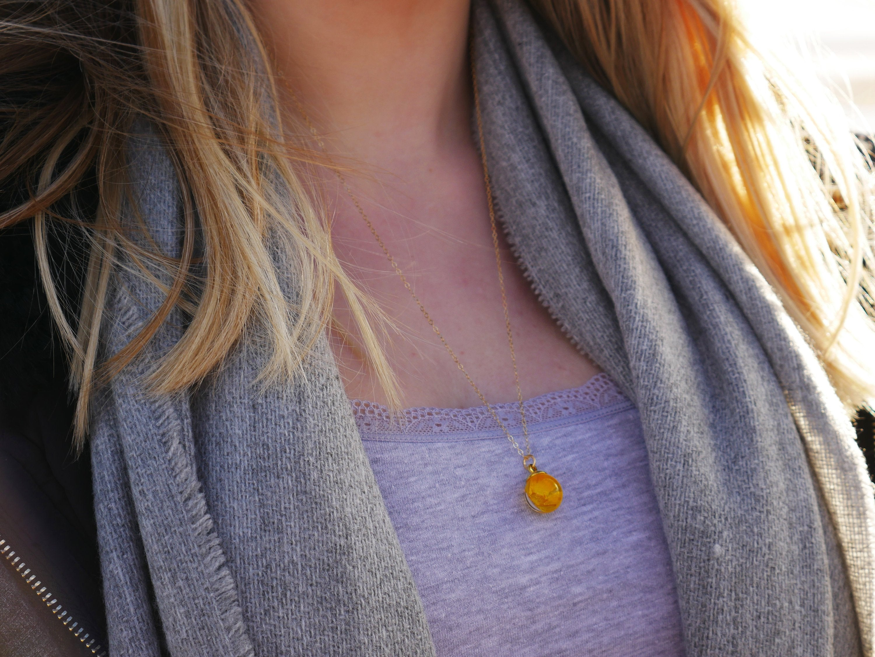 St Andrews long gold buttercup necklace