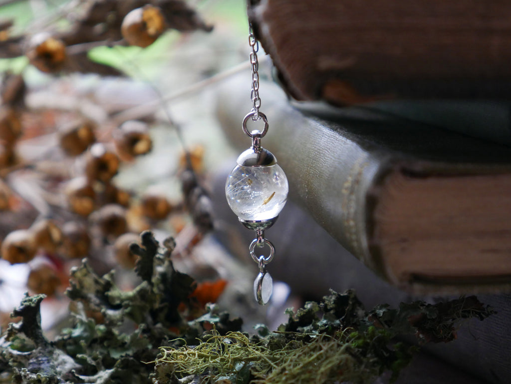 Edinburgh dandelion seed and moonstone sterling silver necklace