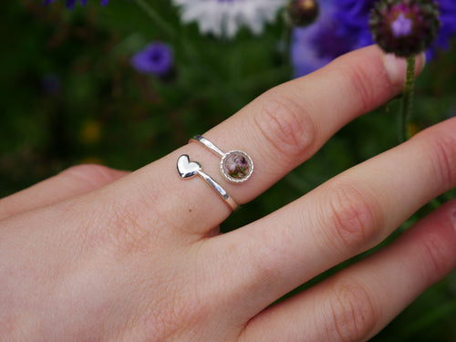 For the love of Scotland Highland heather sterling silver ring