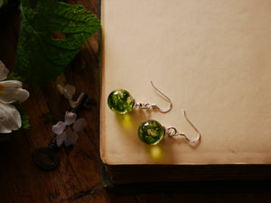 Wallace Monument moss sterling silver drop earrings