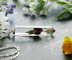 Perthshire wild rose bud crystal sterling silver necklace