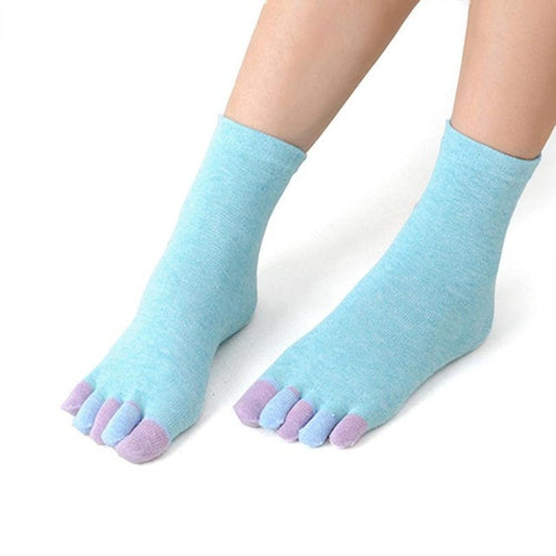 Women's Cotton Colorful Yoga Non Slip Toe Socks