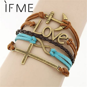 Believe Affirmation Infinite Multilayer Bracelet with Wings