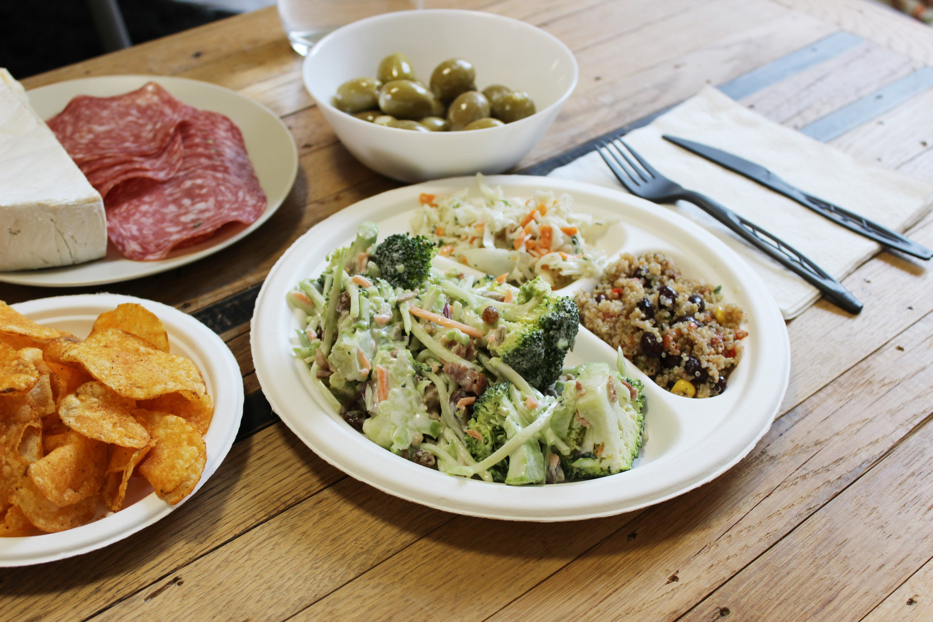 compostable plates vancouver, plates with food and snacks