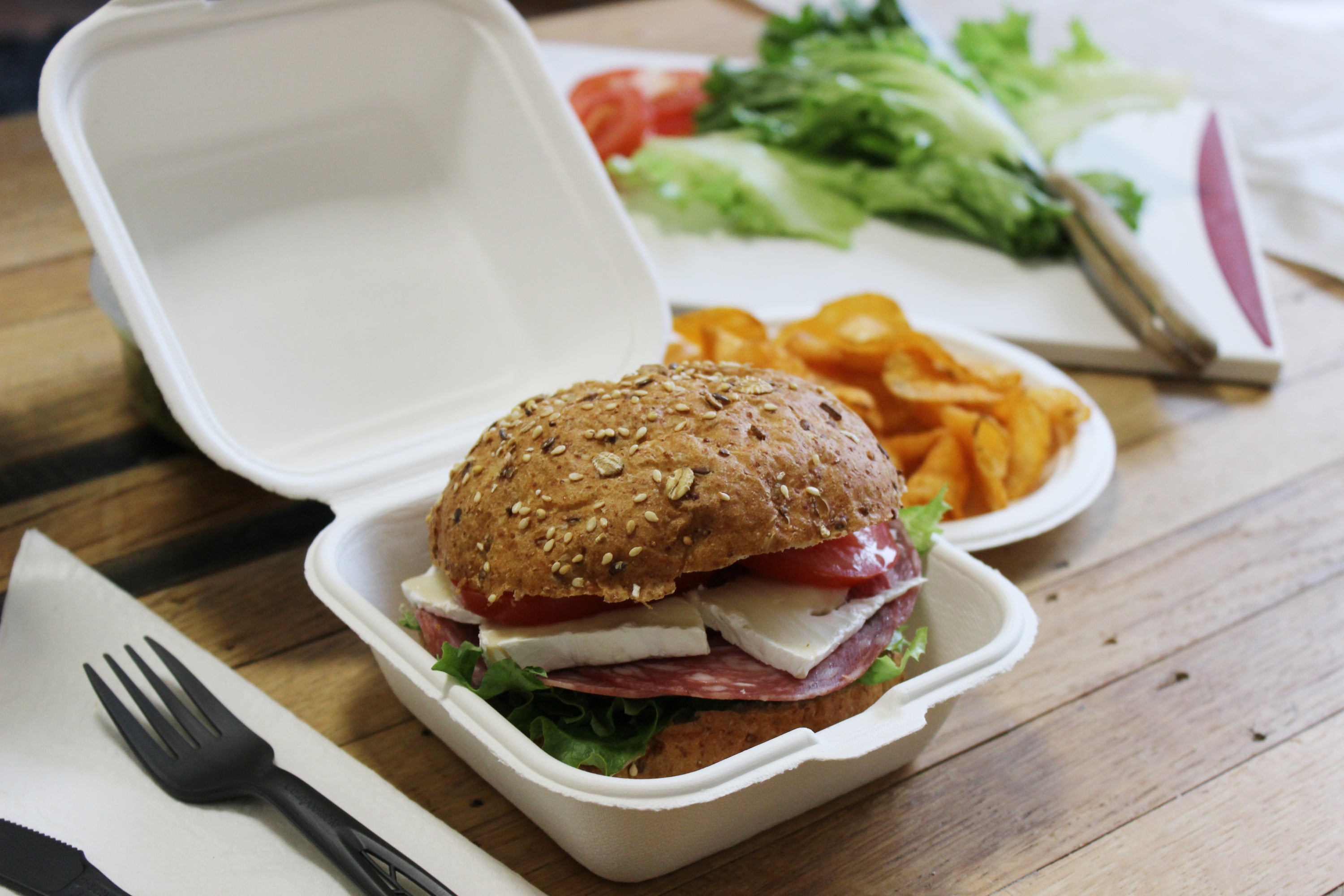 biodegradable clamshell take-out box with burger