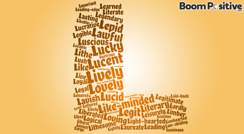 "Positive adjectives that start with L ""lovely words"""