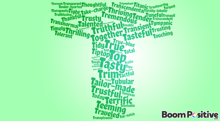 "Positive adjectives that start with T ""tasty words"" – Boom Positive"