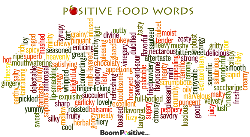 Positive food words to desctibe taste