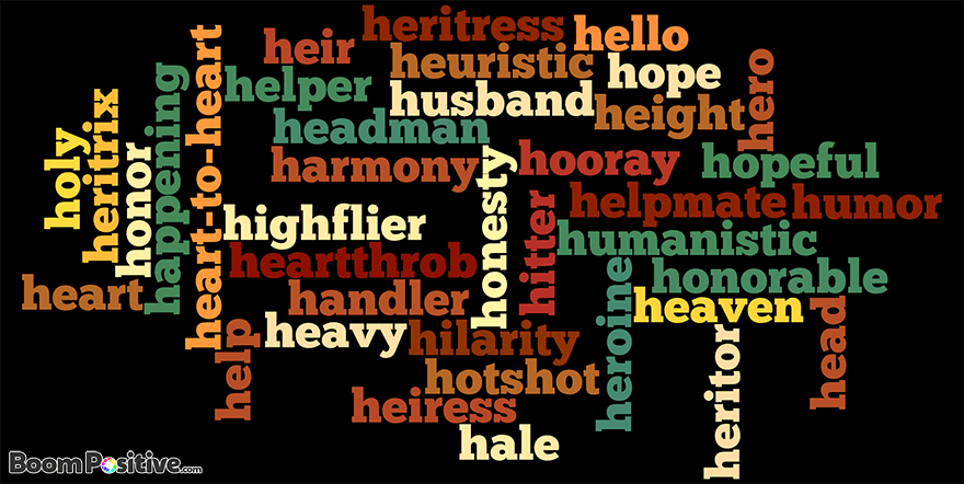 "POSITIVE NOUNS THAT START WITH H ""LETTER H NAMING WORDS"""