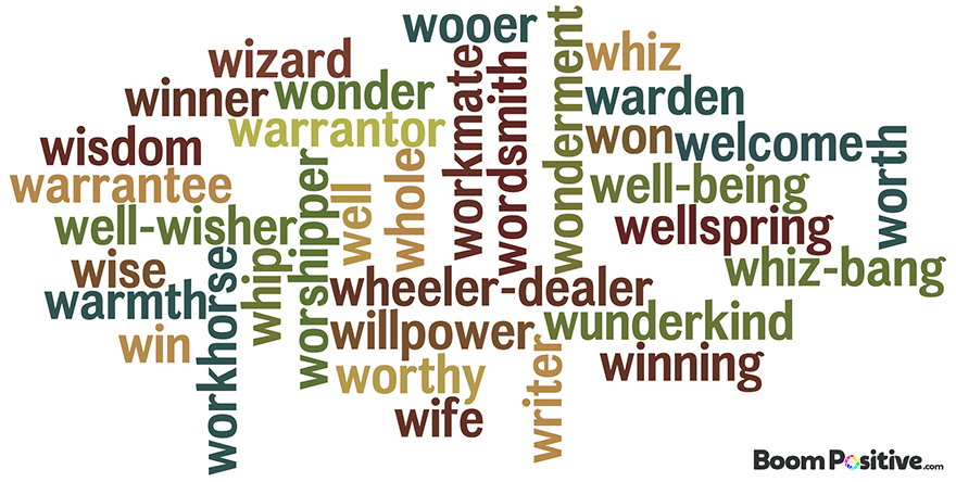 "Positive nouns that start with W ""Letter W naming Words"""