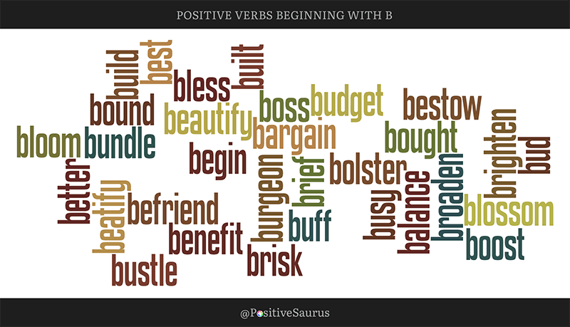 "POSITIVE VERBS THAT START WITH B ""LETTER B ACTION WORDS"""