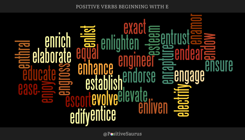 "POSITIVE VERBS THAT START WITH E ""LETTER E ACTION WORDS"""