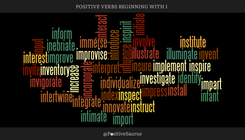 "POSITIVE VERBS THAT START WITH I ""LETTER I ACTION WORDS"""