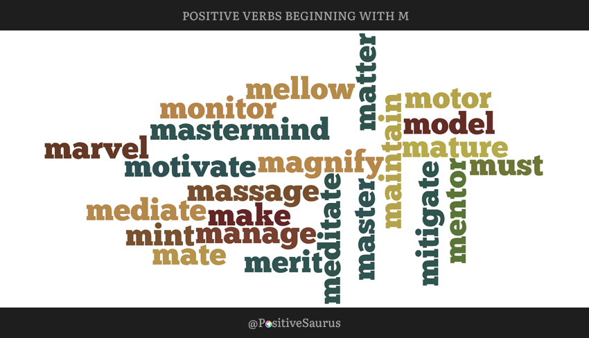 "POSITIVE VERBS THAT START WITH M ""LETTER M ACTION WORDS"""