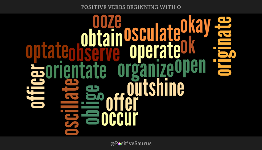 "POSITIVE VERBS THAT START WITH O ""LETTER O ACTION WORDS"""