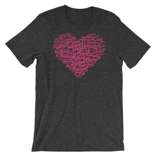 "Lovely words t-shirt ""heart-shaped word cloud"""