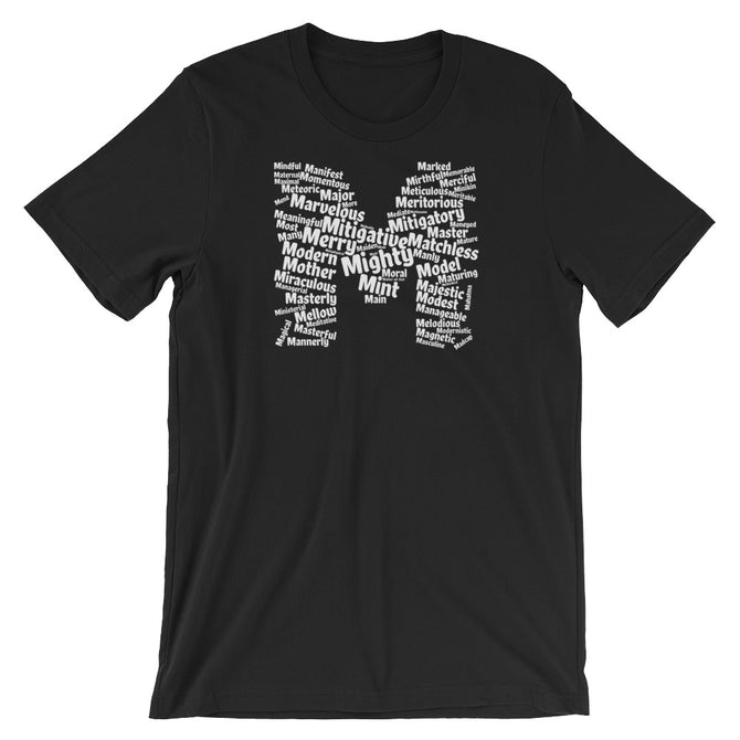 letter m word cloud t-shirt
