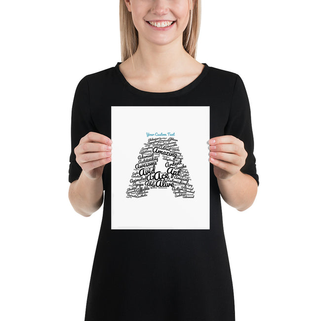 Letter A Word Cloud Art with Inspiring Words | Customizable Poster