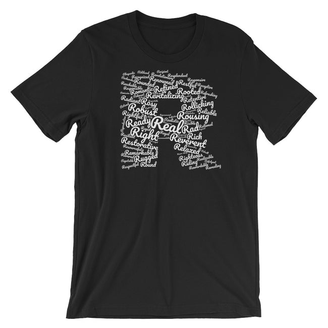 positive words that start with r t-shirt