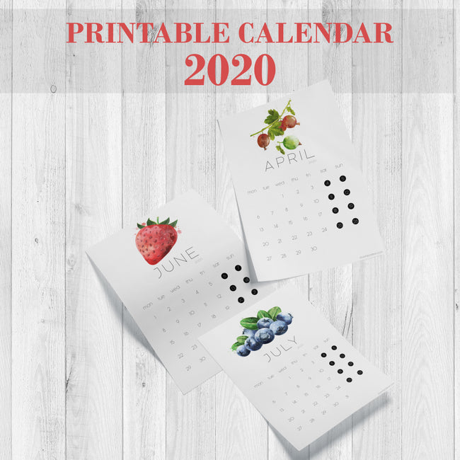 printable calendar 2020 berries