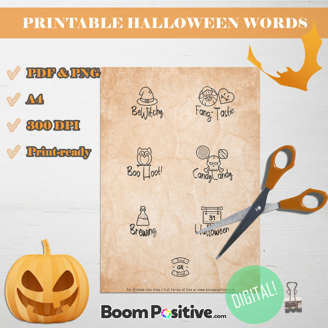 printable halloween pictures and words