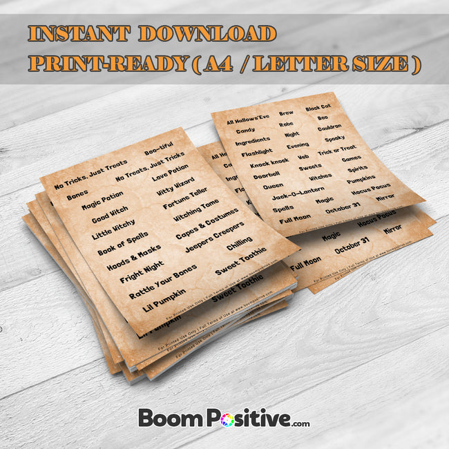 printable halloween words sheets