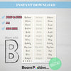 printable positive words with b