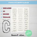 printable positive words with c