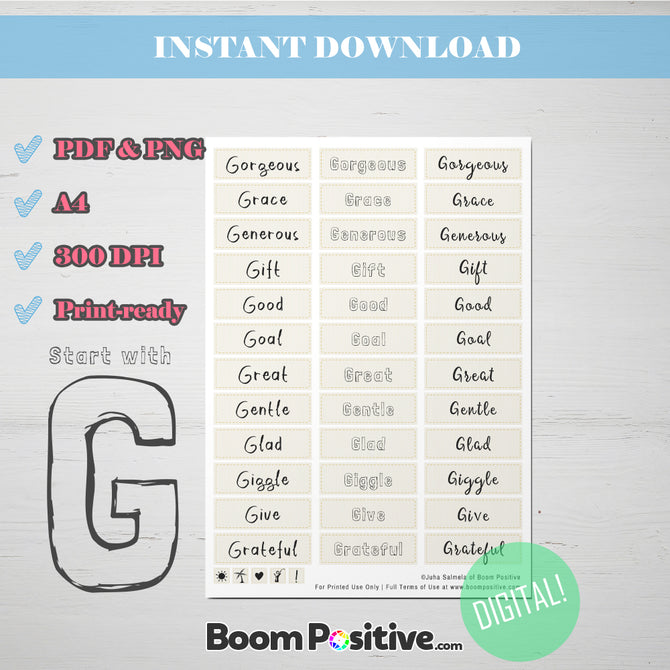 printable positive words with g