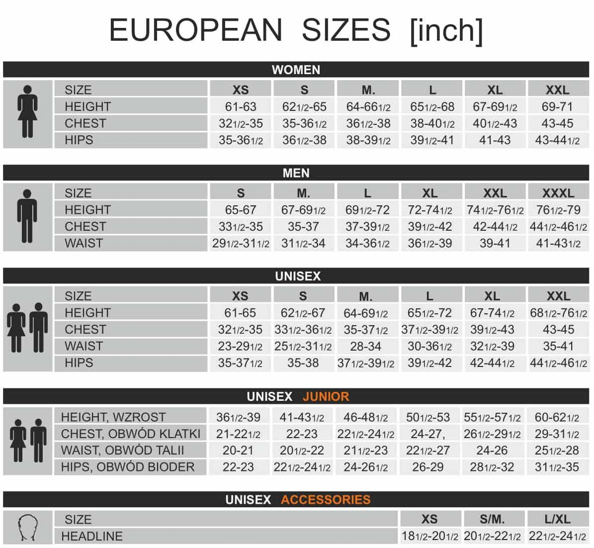 Brubeck Body Guard Size Guide. As a company founded in Europe, our sizing fits snug. Check this chart to ensure you get the perfect fit
