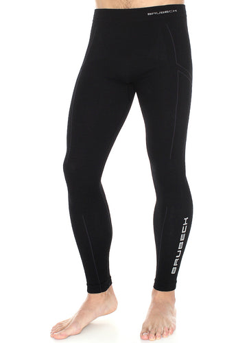 Men's full-length EXTREME WOOL fitted base layer tights in the colour black