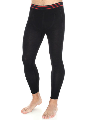 Men's ACTIVE WOOL full-length fitted pants. Pictured in the colour black with red trim around the waist