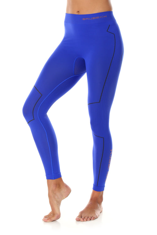 Women's high waisted full length THERMO leggings in the colour cobalt blue. Pictured from the front with the BRUBECK logo on the left hip